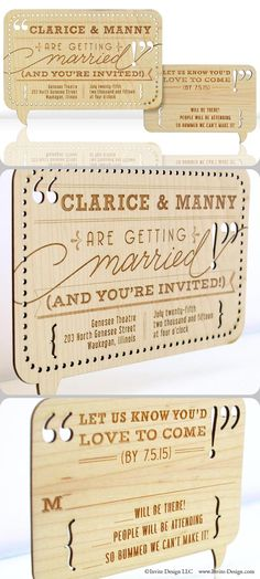 "WORD BALLOON :: Laser cut wood wedding invitations. These fun and modern invitations and accompanying response cards feature stunning engraved detail. Environmentally friendly invitations are laser cut into 1/16"" reclaimed wood planks. $11.99 at http://www.invite-design.com/#!product/prd12/2202416995/word-balloon-invitation"