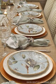 Spring table decorations using nature inspired ideas | Table setting with spring plates | Spring table decorations for a rustic tablescape | Simple inexpensive DIY tablescape for spring | designthusiasm.com