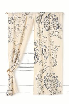 Midnight Courtyard Curtain (style#98005, shown in Navy) by Anthropologie ($78). Warm your home with a hint of tropicali, courtesy of a semi-sheer batik curtain drenched with delicate blossoms and lacy leaves.