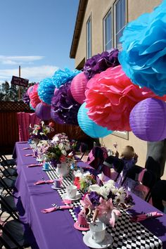 30 Tissue Pom Poms  Mad Hatter Tea Party by SweetandSavvyDesigns, $90.00