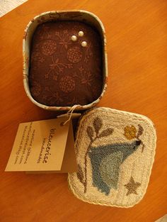 pincushion in a box, punchneedle, bird adapted from Maggie Bonanomi