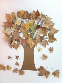 <p>Ponlas alrededor de las ramas del árbol a tu gusto. Puedes utilizar celo para pegarlas. ¡Ya tienes un fantástico árbol de otoño para decorar!</p>