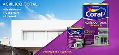 Pinturas e Acabamentos.: Coral acrílico total, tinta Premium.