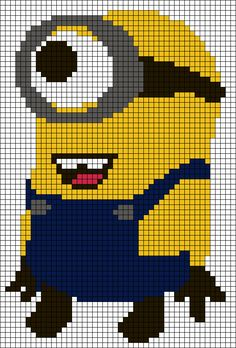 Despicable me Minion perler bead pattern. I feel like I could turn this into a quilt pattern! Ooh I can make a minion rug with this pattern Graph Crochet, Minion Crochet, Pixel Crochet, Motifs Perler, Perler Patterns, Loom Beading, Beading Patterns, Cross Stitch Charts, Cross Stitch Patterns