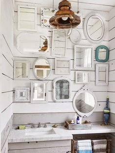 wall of vintage mirrors.