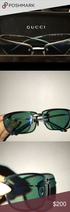 Men's Gucci sunglasses Iridescent blue tinted Gucci sunglasses. Used, slight scratches on left lense but it does not affect the vision. Gucci Accessories Sunglasses