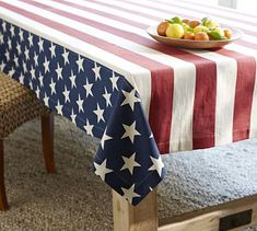 Shop american flag tablecloth from Pottery Barn. Our furniture, home decor and accessories collections feature american flag tablecloth in quality materials and classic styles. 4th Of July Party, Fourth Of July, Pottery Barn, Camping 3, Table Throw, American Flag Stars, American Art, Floral Tablecloth, Tablecloth Ideas