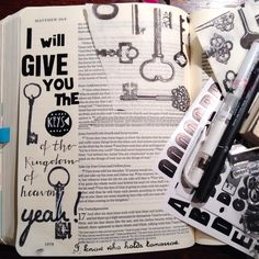 i will give you the keys to the kingdom BIBLEARTJOURNALING.DE     Bible Page by Rebeccabecker.de