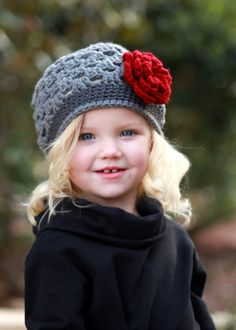 Girls Gray and Red Crochet Flower Beanie. I need to learn how to crochet so i can make layla cute hats!