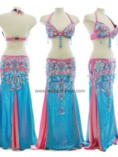 Metallic Bright Navy Blue and Deep Pink belly dance costume