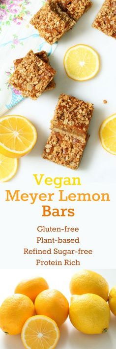 Vegan Meyer Lemon Bars combine a sweet citrus 'cream' with a 'buttery' crust. As rich in protein as they are decadent! (Gluten-free and refined sugar-free. Gluten Free Snacks, Gluten Free Baking, Vegan Baking, Vegan Sweets, Vegan Desserts, Dessert Recipes, Vegan Recipes, Free Recipes, Vegan Meals