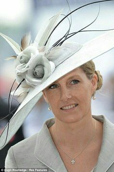 The Countess of Wessex is elegant in a Jane Taylor hat at the Derby in 2012