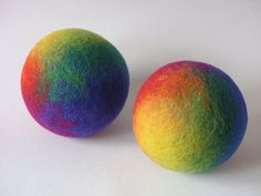 Felt Wool Ball, Large, Rainbow Colors, Children Toy, with Baby Rattle, Waldorf inspired on Etsy, $35.58 AUD