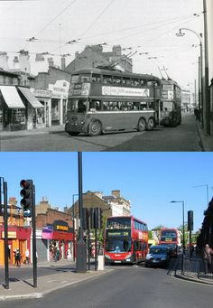 In the top pic, two trolleybuses on route 639 to Hampstead turn from Chalk Farm Road into Ferdinand Street sometime in the late 1950's. More than fifty years later, the same scene shows that, apart from a few small alterations, the buildings on the left have hardly changed. However, the new road constructed on the right leads to the giant Morrison's supermarket, built on land previously used by the railways. (N.B. This picture is from the Camden Town set, which includes photos taken ...