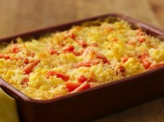 Cauliflower and Carrot Gratin - Top carrots and Green Giant™ cauliflower with Progresso™ bread crumbs to make this cheesy side dish - perfect for Thanksgiving.