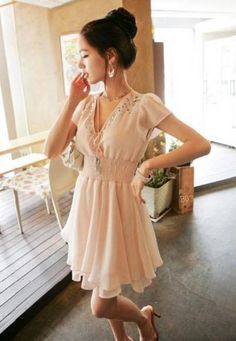 32985d7432cd Shop Apricot V Neck Short Sleeve Cascading Chiffon Dress online. SHEIN  offers Apricot V Neck Short Sleeve Cascading Chiffon Dress   more to fit  your ...