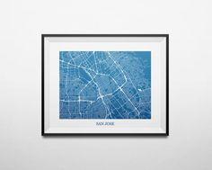 Map of San Jose California Bay Area Abstract by louisianaprints