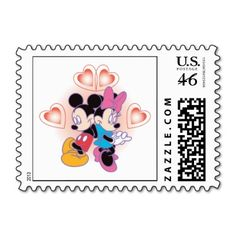 Minnie and Mickey Love Postage Stamps