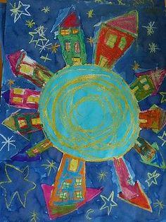 peinturer notre monde! Murals For Kids, Art For Kids, Auction Projects, Art Projects, Salles D'art Élémentaires, Ciel Art, Elementary Art Rooms, 4th Grade Art, Cityscape Art