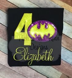 Personalized Yellow And Purple Batgirl Embroidered Birthday Shirt Party Batman 5th