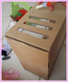 Inventando com a mamãe: Nossos Momentos: Berço de boneca feito de caixa de papelão