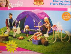 Barbie Route 66 Camping Fun Playset (2000) by Mattel. $150.00. Barbie Route 66 Camping Fun Playset is a 2000 Mattel production. Includes Everything for a perfect Picnic!. For Box Condition see CONDITION NOTE or Email Seller for Details.. CONTENTS: Tent, Tree Stump, Log, Lantern, Camp Fire, Guitar, Skillet, Backgammon Board, Table with Benches, Coffee Pot, Plates, Drinking Glasses, Cups & Saucers, Cooler, Barbecuing Utensils, Pretend Food Items, Soda Bottles.. ...