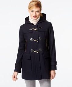 MICHAEL Michael Kors Faux-Leather-Trim Hooded Duffle Coat
