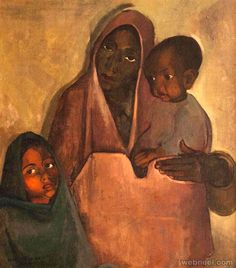 Amrita Sher Gil, Mother India, National Gallery of Modern Art Painting People, Woman Painting, Figure Painting, Indian Women Painting, Indian Paintings, Family Painting, Painting For Kids, Children Painting, Indian Folk Art
