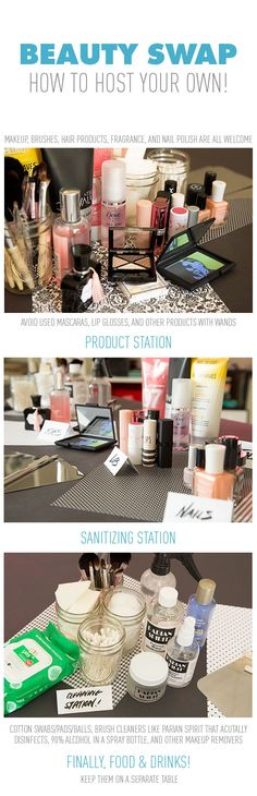 Trade Up! How to Host Your Own Beauty Swap Party.  Not a product but a great idea for a beauty swap party for friends and relatives. We all have leftovers, items we've bought but never opened, colors we no longer like, etc.