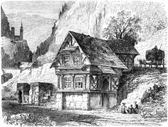 Peasant's House in the Black Forest  View of a peasant's house in the Black Forest. The scene includes an ox cart loaded with hay, children playing, and two geese. DeColange, Leo The Heart of Europe from the Rhine to the Danube (Boston, MA: Estes and Lauriat, Publishers, 1883)