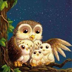 my momma owl and littlie owly on Christmas nite Owl Photos, Owl Pictures, Owl Bird, Bird Art, Owl Artwork, Whimsical Owl, Owl Family, Beautiful Owl, Owl Crafts