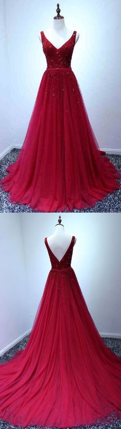 Burgundy tulle V neck long lace evening dress, long customize prom dress #prom #dress #promdress