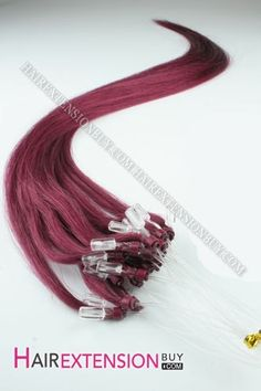 "16"" #Purple Straight Micro Loop Human Hair Extensions"