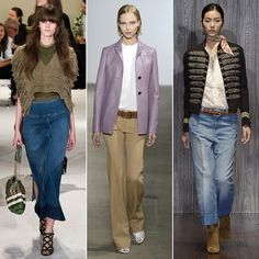 Every season, a specific decade takes over the runways, and after a close competition between the mod '60s and the 1970s, the latter has won out. But don't expect to be rocking full-fledged bell bottoms next year. This time, it's all about subtle touches in retro lapel shapes, juxtaposing color combinations, an abundance of denim, and pant silhouettes that are sometimes flared, sometimes full and wide.