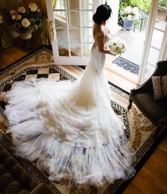 Life is better with a dramatic #train made of silk tulle adding a majestic #romance to it. The #Elizabeth from the #IvoryTower collection.