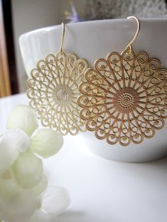 Gold Chandelier Hoop Earrings  Gold Tribal by Redpeonycreations, $23.00