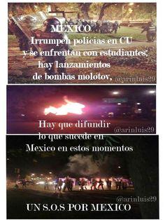 Estudiantes y granaderos se enfrentan en Ciudad Universitaria (Crónica ente las 21:30 y las 23:00 horas)