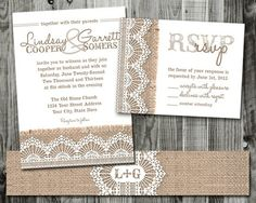 Burlap  Lace Wedding Invitation