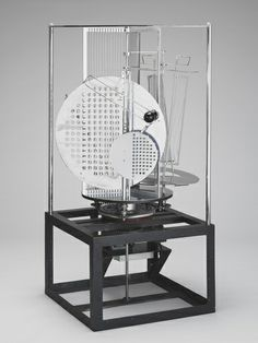 László Moholy-Nagy (American, b. Hungary 1894-1946). Lichtrequisit einer Elektrischen Bühne, 1930. Aluminum, steel, nickel-plated brass, other metals, plastic, wood, and electric motor. 59 1/2 x 27 1/2 x 27 1/2 in. (151.1 x 69.9 x 69.9 cm).