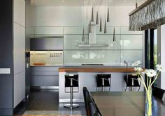 bulthaup b3 kitchen with glass panelling and bulthaup functional elements
