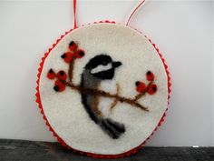 Needle felted bird ornament Chickadee or by SmallWondersArt, $15.00 #Christmas ornament
