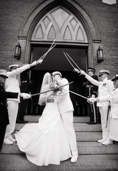 Love the sword arch! Great military wedding picture outside First Baptist Church in Elizabeth City, NC. Love the moment!