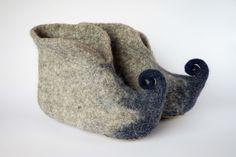 Elf felt slippers-Felted wool slippers-blue grey booties-felt house shoes-men felt slippers-women felt slippers- Handmade-Valentine day gift by WoolHome on Etsy https://www.etsy.com/uk/listing/261733519/elf-felt-slippers-felted-wool-slippers