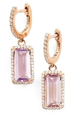 ARIA Emerald Cut Drop Earrings with Amethyst by LAFONN      NORDSTROM.com  #rosegold #amethyst