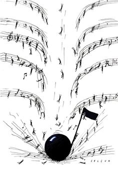 Drop the note. Illustration for Princeton Alumni Weekly by Selçuk Demirel Sound Of Music, Music Is Life, My Music, Music Lyrics, Music Quotes, Instruments, All About Music, Music Pictures, Piano Music