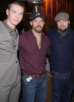 """Will Poulter, Tom Hardy, Leonardo DiCaprio at """"The Revenant"""" Party at MadeWorn hosted by Edward Norton, Shauna Robertson and Brett Ratner and sponsored by Bulleit Rye on Tuesday, Dec. in Los Angeles. Marlon Brando, Tom Hardy Variations, Tom Hardy Actor, Leonard Dicaprio, Tom Hardy Photos, Bae, Tommy Boy, Hollywood Actor, Gorgeous Men"""