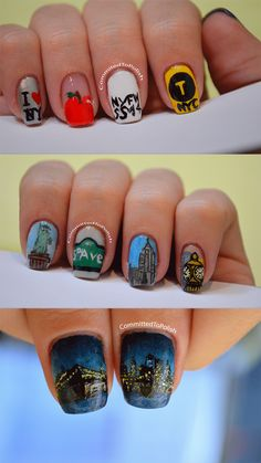 NYC Nail Art ♥ #StatueOfLiberty, #FifthAvenue, #EmpireStateBuilding, #GrandCentralStation, #BrooklynBridge, #ILoveNY, #BigApple, #NYFW, #NYCTaxi ♥
