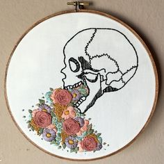 Moonrise Whims: Human Skull with Florals embroidery