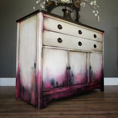 SOLD I m really liking these shades of deep berry pink lately if you can t tell This time I paired it with a dirty white dark stained top and bronze on the pulls This smaller buffet measures 36 tall 425 It will be available tonight at Funky Furniture, Refurbished Furniture, Paint Furniture, Furniture Projects, Furniture Makeover, Furniture Design, Refurbished Phones, Upcycled Furniture, Cheap Furniture