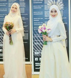 Bridal outfit by ejashahril (lens valley photography) Bridal Hijab, Hijab Bride, Bride Groom Dress, Bride Gowns, Bridal Outfits, Bridal Dresses, Wedding Hijab, Muslimah Wedding Dress, Muslim Wedding Dresses